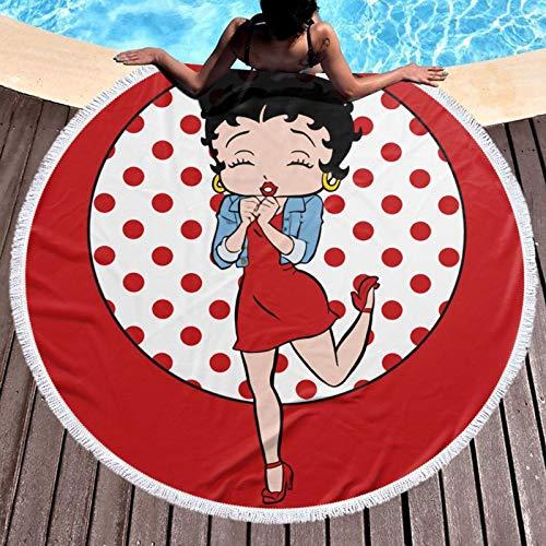 Be-Tty Boop - Toalla de playa redonda con flecos para playa, yoga, mantón