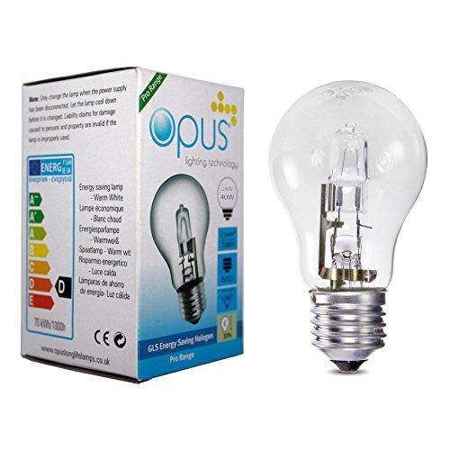 5 x Opus Bombilla Lámpara Halogena GLS ES E27 28W = 42W Blanco calido claro