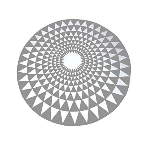 Bâche Tapis géométrique Moderne Rond Salon Chambre à Coucher Tapis de Nuit (Couleur : Gray, Taille : 100CM)