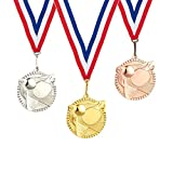 Juvale 3-Piece Award Medals Set - Metal Olympic Style Table Tennis Gold, Silver, Bronze Medals for Ping Pong Games, Competitions, Party Favors, 2.3 Inches in Diameter with 32-Inch Ribbon