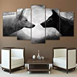 ZSYNB 5 Leinwandbilder Wohnkultur HD Drucke Bilder Leinwand Wandkunst 5 Stücke Schwarz Und Weiß Wölfe Gemälde Für Wohnzimmer Tier Poster