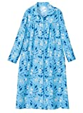 AmeriMark Soft Flannel Cotton Duster Robe Housecoat with Snaps and Patch Pockets Blue 1X