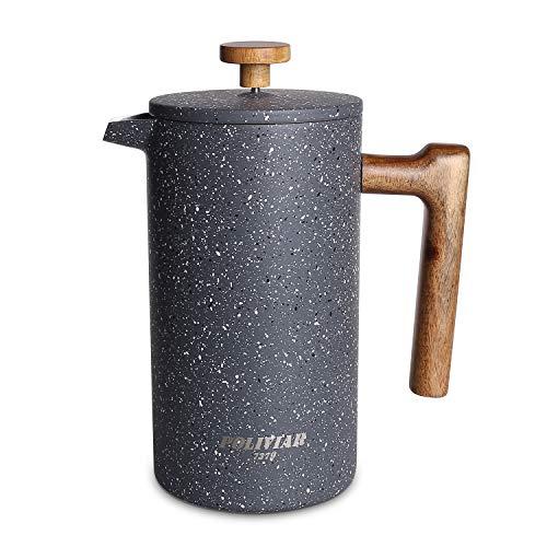 Poliviar French Press Kaffeebereiter 1 Liter/8 Tassen, Doppelwandige Isolierte Kaffeekanne und Teebereiter, Handfilter Kaffeepresse mit Plunger & Griff aus Holz, Lava (Steinartig) JX2019-FPG10-DE