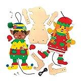 Baker Ross AT115 Kits Marionetas de Madera Duende Navideño, Artes y Manualidades Festivas, Pack de 4