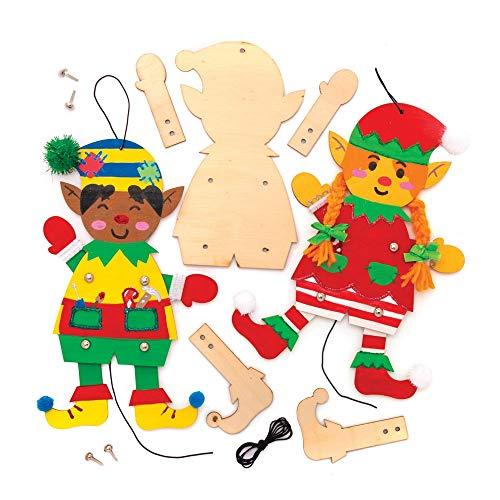 Kit Burattini Elfi in Legno Natalizi Baker Ross (confezione da 4) Attività Creative Festive