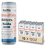 Hella Cocktail Co. | Dry Aromatic Bitters & Soda | 12oz Cans (Case of 12) | Ready to Drink or Use as Cocktail Mixer | All Natural Ingredients, Made with Gentian Tincture