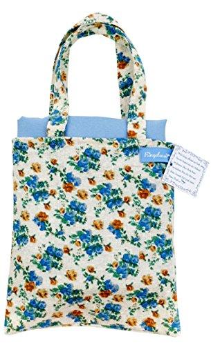 Ringelsuse Picknickdecke Freizeitdecke Picknick Decke Gerbera Hellblau Creme Blumen mit Tragetasche 102 x 132 cm 100% Baumwolle Fair-Trade