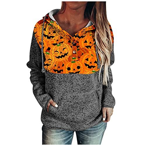Dasongff - Sudadera con capucha para mujer con estampado de calabaza para otoño, manga larga, cuello redondo, elegante