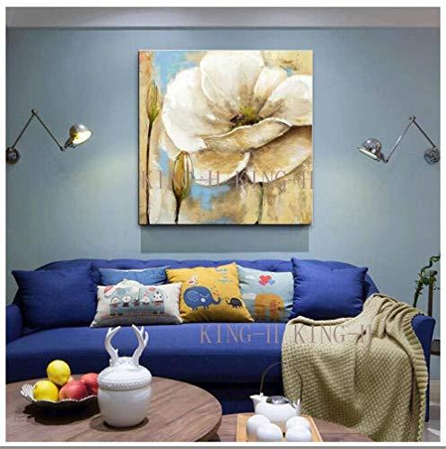mmzki weltberühmtes Gemälde Handgezeichnete ursprüngliche große Pflanzen Blumenölgemälde realistische Qualität goldene Blumen schmücken Sofa Veranda Korridor Studie-80x80CM_KingH3