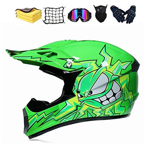 Set de Casco de Motocross,Adulto Motocross Casco, Integrale Casco Integral de Moto Todoterreno para Hombre,Casco Cross con Guantes, Gafas y máscaras (Small)