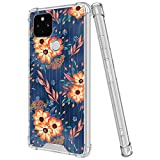 LSL Crystal Clear Compatible with Google Pixel 4a 5G/5 XL Painted Flowers Wallpaper Ultra Case Yellow-Resistance Clear Bumper Shockproof Protected