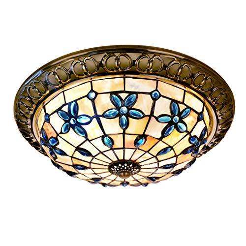 JYTBD Iluminación de decoración artística, lámpara de techo de cristal manchado, hecha a mano, estilo Tiffany vintage, lámparas de techo de 30,5 cm/40,6 cm, sala de estar, dormitorio, pasillo