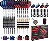 Whimlets Steel Tip Darts Set - Professional Darts Steel Tip for Dartboard with Brass Barrels and Extra Aluminum Shafts, O-Rings, Flights + Dart Tool and Sharpener + Gift Case