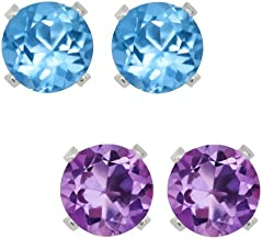 Gem Stone King Sterling Silver 4mm Purple Amethyst and Blue Topaz Stud Earrings Set of 2