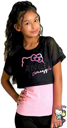 6d833d29e Pineapple Dancewear Hello Kitty Girls Dance Double Layer Top Pink and Black