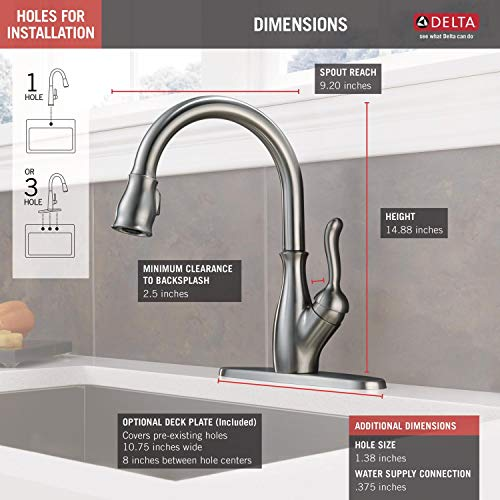 Delta Faucet Leland Pull Down Kitchen Faucet with Pull Down Sprayer, Kitchen Sink...