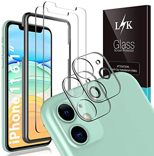4 Pack LϟK 2 Pack Screen Protector & 2 Pack Camera Lens Protector Compatible for iPhone 11 6.1 inch Tempered Glass Film Scratch-proof, Fingerprint-proof, Case Friendly, Bubble Free - Clear