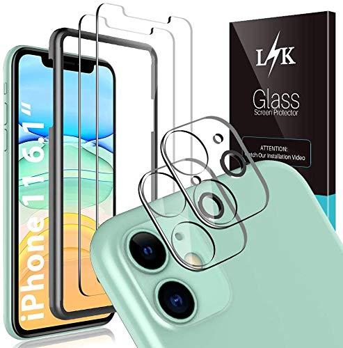 LϟK 4 Pezzi Pellicola Protettiva Compatibile con iPhone 11 6.1 Pollice con 2 Pezzi Vetro Temperato + 2 Pezzi Fotocamera Posteriore Pellicola Vetro Temperato - Senza Bolle protezione schermo