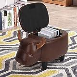 Greensen Sitzbank mit Stauraum Tier Sitzhocker Kinder Kinderhocker Fußablage Sitzwürfel aus Leder und Massivholz Hocker kinderzimmer Family, Wohnzimmer, Schlafzimmer (Kuh)