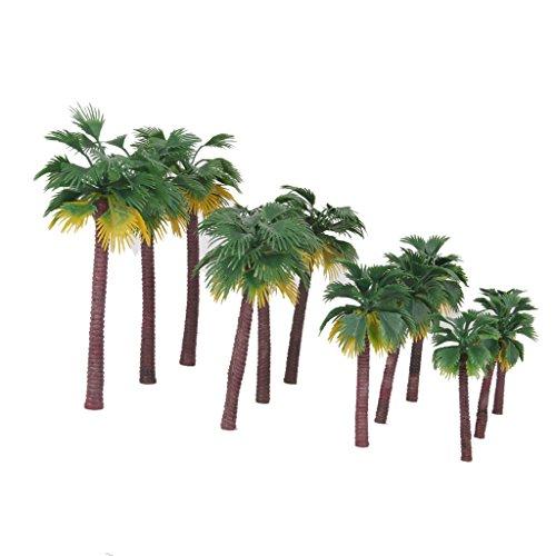 freneci 12 / Lote Modelo de Plástico Palmeras Tren Bosque Tropical Playa...
