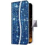 Sweau Coque Huawei P40 Lite,Etui à Rabat Clapet Glitter Paillette Cover Housse Antichoc Portefeuille Cuir PU Housse de Protection Coque Compatible avec Huawei P40 Lite,Bleu