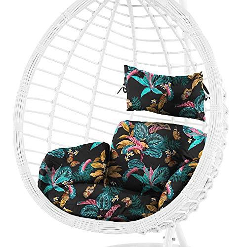 Cojín para sillón Colgante de ratán, cojín de jardín, cojín de Asiento de palés Europeo (Patrón de Flores 4, 55 x 45 cm)
