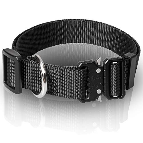 WINSEE Tactical Dog Collar No Pull Black with Cobra Buckle & Metal D Ring for Large Dogs Nylon Adjustable Military K9 Extra Large Dog Collar Heavy Duty L-XL