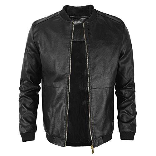 Men BigBoy Casual Slim-Fit Faux Leather Jacket Blazer Windbreaker Waterproof