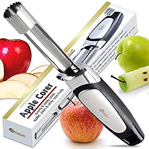 Apple corer quickly & easily cores apples, pears & other core fruits - Just push, twist & pull! Ultra-sharp serrated tip lets you easily push large corer into center of apple for easy removal Versatile vegetable corer works great for coring pears, to...