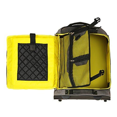 Cabin Max Manhattan Bagage à Main Valise Cabine 55x40x20 avec Bretelles Pliables (Gris/Jaune)
