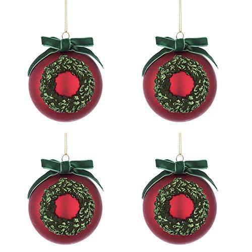 BIZZOTTO Palle di Natale in Vetro Rosso con Fiocco Verde, Set 4 Pz Palline  80 mm, Addobbi Natalizi Ornamento per Albero