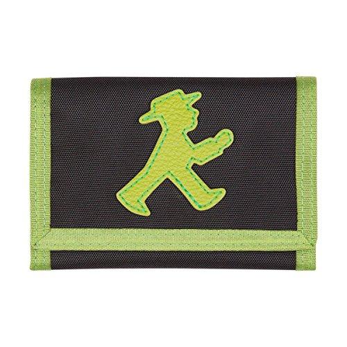 AMPELMANN Goldesel | Brustbeutel schwarz/grün | 25 x 12 x 10 cm 100% Polyester in Canvas-Stil mit PU-Leder und Geher