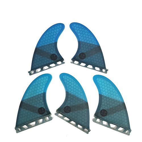 UPSURF Tabla de Surf Tri - Quad Fin Set Future Aletas Fibra de Vidrio Aletas Thruster (Azul K2.1)