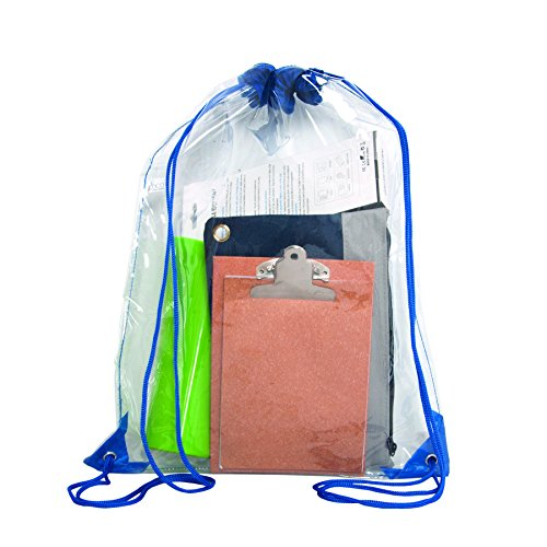 """Bags for Less Clear Drawstring Bag, Small Clear Bag For Stadiums, Sporting Events - 14"""" x 17"""" (Clear/Royal Blue)"""