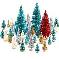 Natale albero set: include 60 pezzi mini alberi di Natale in 6 dimensioni, tra cui 20 pezzi 3.5 cm/ 1.4 pollici, 1 pezzo 16 cm/ 6.3 pollici e 4 pezzi 6.5 cm/ 2.6 pollici, il tutto in verde blu; 30 Pezzi 4.5 cm/ 1.8 pollici in verde, bianco, oro, ogni...