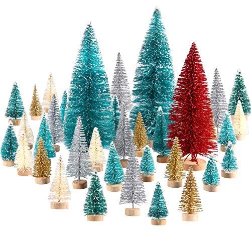 60 Pezzi Mini Albero di Natale Artificiale Natale Sisal Neve Alberi Bottiglia Pennello Alberi Pino Ornamenti con Base in Legno per Natale Festa Casa Decorazione (Multicolore, 6 Taglie)