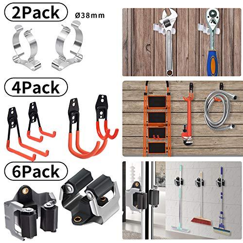 Gerätehalter - Besenhalter Wandhalter zur Aufbewahrung der Gartengeräte - Haushaltsgeräte - besenhalterung Wand (Inkl. Schrauben und Dübel) (schwarz 6er mit 4 haken)