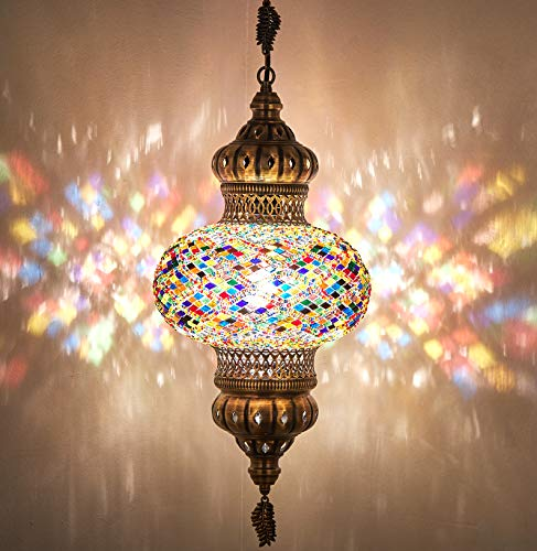 Turkish Moroccan Mosaic Glass Handmade Ceiling Pendant Fixture Hanging Lamp Light,7' (Ocean)