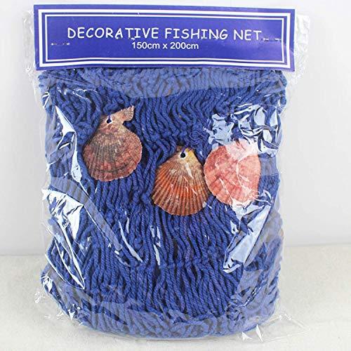 Wohlstand Red de Pesca Decorativa,Conchas Pared,Estilo mediterráneo,200 cm x 150 cm,Colgante Navegación Beach Medianera de Decoración de Casa Fiesta Partido