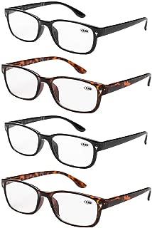 4 Pack Reading Glasses for Men & Women Transparent Lenses Comfy Frame (+3.0)