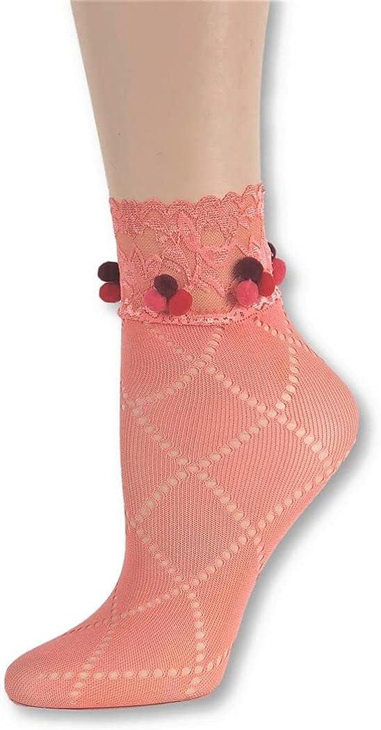 Glowing Orange Mesh Socks with pompom, ,100% Nylon Sheer Socks - Breathable and Lightweight Summer Ankle Socks for Women, Custom Socks with Pompom