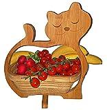 CleanPrince  KATZEN  Faltkorb Katze Cat 30 x 30 cm Klappkorb Bamboo Bambusholz Holzkorb Korb Schale Bambus Obstkorb Dekoschale Obstschale Holz Gemüseschale Untersetzer Bambuskorb Osterkorb