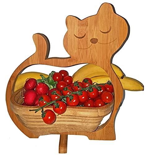 CleanPrince > KATZEN < Faltkorb Katze Cat 30 x 30 cm Klappkorb Bamboo Bambusholz Holzkorb Korb Schale Bambus Obstkorb Dekoschale Obstschale Holz Gemüseschale Untersetzer Bambuskorb Osterkorb