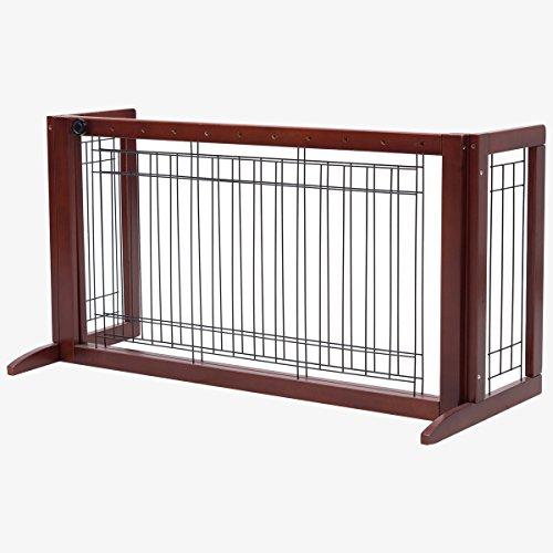 DREAMADE Absperrgitter Schutzgitter aus Holz & Eisen, Ausziehbarer Haustierzaun Treppenschutzgitter mit Verlängerten Stützfüßen, Hundeschutzgitter für Treppen Schlafzimmer, Braun
