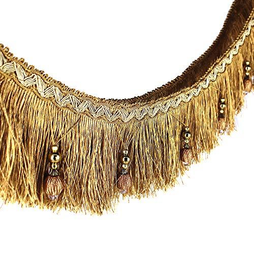 Stoffband, Läufer, 1,82 m geflochtene Perlen, hängende Kugelquaste, Fransenrand, Stoff mit Applikation - Vorhang, Tisch, Hochzeitsdeko gold