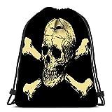 IUBBKI Rucksackbeutel mit Kordelzug Böser Totenkopf mit Knochen Warnschild Faltbare Cinch-Taschen