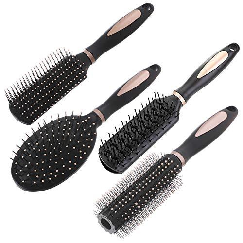 Juego de 4 cepillos para el pelo, antiestáticos, para masaje, oval, cepillo redondo para ventilación, cepillo mbres, niños, todo el cabello húmedo o seco, desenredar, para desenredar, añadir b