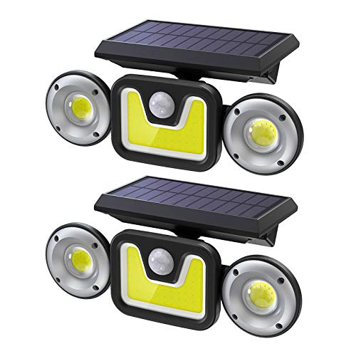 Solarlampen für Außen mit Bewegungsmelder, [2 Stück] 83COB Led solarleuchte, IP65 Wasserdichte, Ltteny 270° Beleuchtungswinkel 3 Modi [2400mAh] Solar Aussenleuchte für Garten