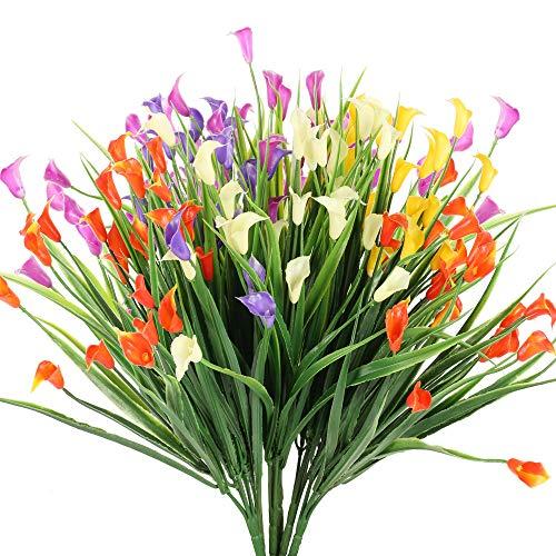 NAHUAA 6 Piezas Flores Artificiales de Lirio de Flores Plantas de Flores Falsas Multicolores Jardin Interior al Aire Libre Hogar Cocina Oficina Mesa Centros de Mesa Arreglos Decoracion