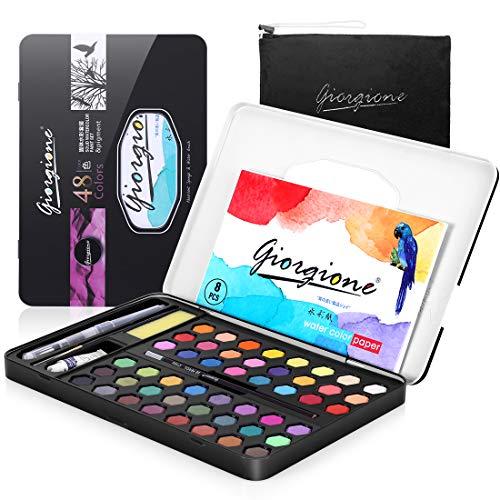 AGPTEK Acquerello Set, Set Pittura Acquerello Solida 48 Colori Kit Pittura Professionale con 3 pennelli per Acquerello,1 Matita,8 Fogli di Carta, Una Spugna,Facile da Miscelare e Asciuga Rapidamente